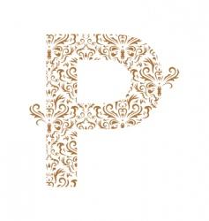 floral letter p ornament font vector image