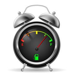 Fuel indicator in creative retro alarm clock vector
