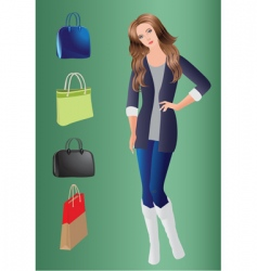 girl and bags vector image