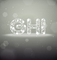 Glowing Font from G to I on Bokeh Backgroun vector image vector image