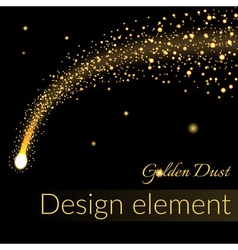 Golden sparkling falling star 2 vector image vector image