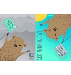 Happy Groundhog Day card design vector image vector image
