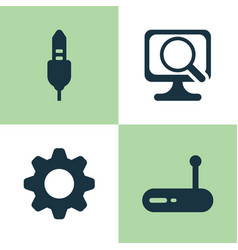 Hardware icons set collection of settings laptop vector