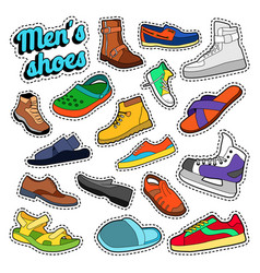 Mens fashion shoes and boots set for stickers vector