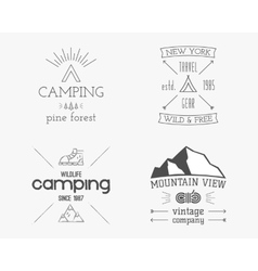 Mountain and family forest camp badge logo and vector