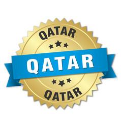 Qatar round golden badge with blue ribbon vector