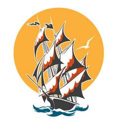 sail ship colorful emblem vector image