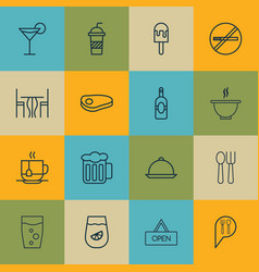 Set of 16 food icons includes soda drink hot vector