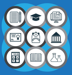 Set of 9 school icons includes e-study vector