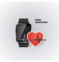 Smartwatch with heart beat symbol vector