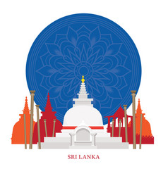 sri lanka landmarks with decoration background vector image vector image