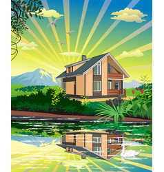 Summer country landscape the lake house swan on vector