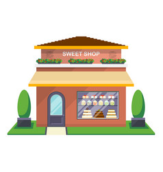 sweet shop facade isolated icon vector image