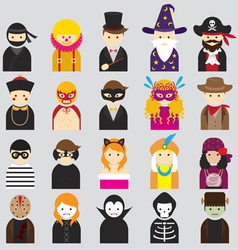 Various People Symbol Icons Fancy Mask Set vector image vector image