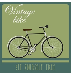 Vintage card of black bicycle in retro style vector