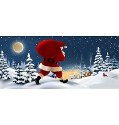 Winter landscape with santa claus in the vector