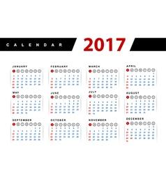 Calendar 2017 year design template vector