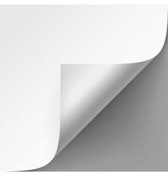 Curled corner of white paper on gray background vector