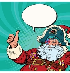 Santa claus pirate wishes merry christmas vector