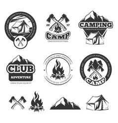 nature vintage labels set for scout camp camping vector image