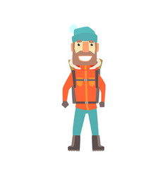 Climber man standing with backpack colorful vector