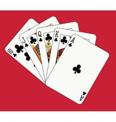 Royal flush clubs vector