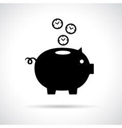 Piggy bank icon with clocks falling in vector