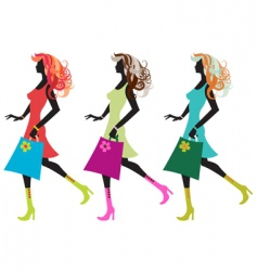 Walking young women vector