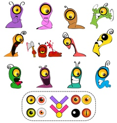 Worm characters creation set vector