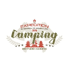 Camping emblem with shabby texture vector