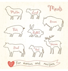 Set drawings of meat symbols beef pork lamb vector