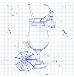 Cocktail pina colada on a notebook page vector