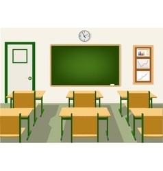 Empty school classroom with blackboard vector