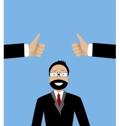 Happy businessman and hands with thumbs up vector