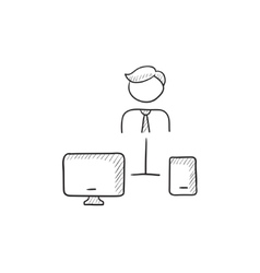 Man linked with computer and phone sketch icon vector