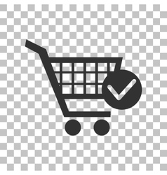 Shopping cart with check mark sign dark gray icon vector