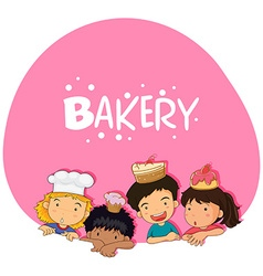 Bakery theme with children and cake vector image vector image
