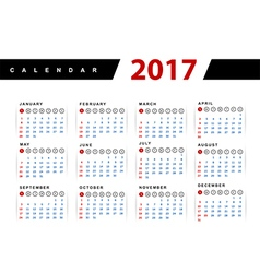 Calendar 2017 year design template vector