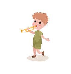 cartoon boy scout character walking and playing on vector image vector image