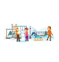 Children play in the playground making snowmen vector