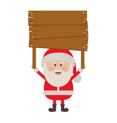 Colorful silhouette of santa claus with wooden vector