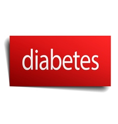 Diabetes red square isolated paper sign on white vector