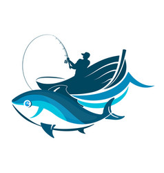 fish and fisherman in a boat vector image vector image