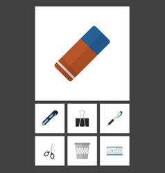 flat icon stationery set of pencil rubber vector image vector image