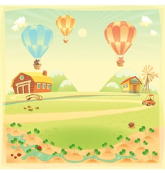 Funny landscape with farm and hot air baloons vector