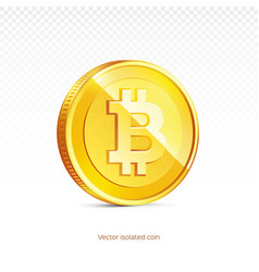 gold bitcoin coin isolated background vector image