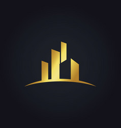 Gold building business finance logo vector