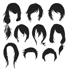 Hair styling for woman drawing Black Set 1 vector image vector image