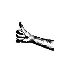 hand showing thumb up 8 bit minimalistic pixel vector image vector image