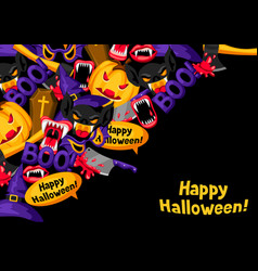 happy halloween background with cartoon holiday vector image